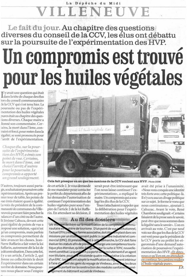 Villeneuve कचरा ट्रक बहुत पर तेल