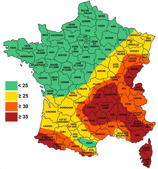 carte de france niveau keraunique