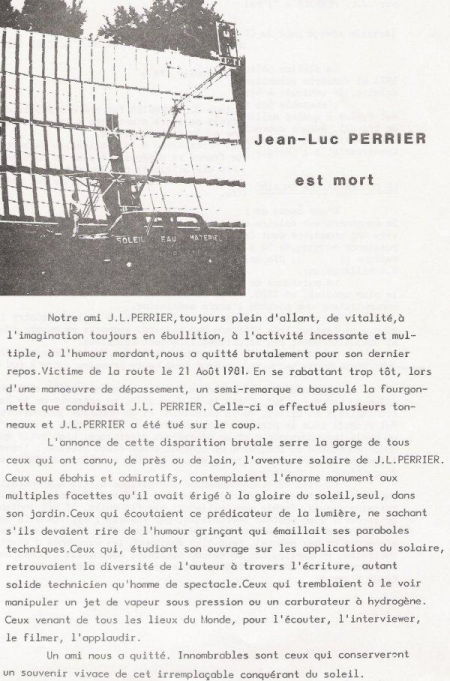 Death of Jean Luc Perrier