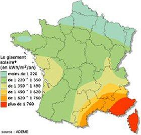 Carte de france de l 39 ensoleillement ou gisement les nergies renouvelables - Energie solaire en france ...