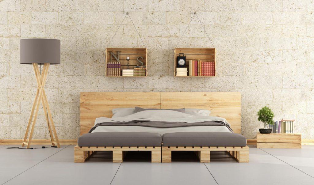 Bett in Palette