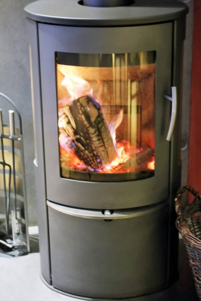 wood stove in a living room