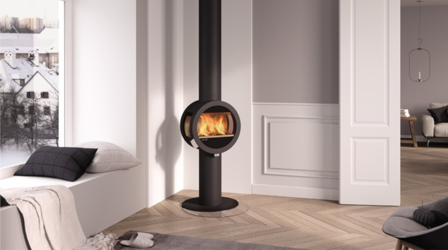 round wood stove design